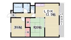 西飾磨駅徒歩スグ!リノベーションしました♪ 2Dの間取