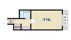 敷金0円☆ オートロック付きで女性も安心☆ JR姫路駅徒歩圏! 406の間取