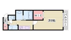 ネット無料!!姫路駅前!!徒歩圏内♪マンションタイプ。 201の間取