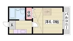 敷金0円物件 兵庫県立大学すぐ近く♪ 日当たり良好 広々ロフト付き 204の間取