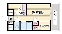 ベッドスペースあり 南向きで日当たり良好 収納スペース 106の間取