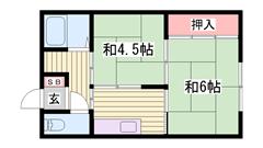 駐車場1台込み☆エアコン完備!洋式トイレに改装済です☆ 12の間取