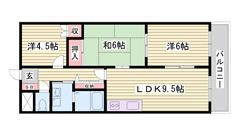 シャンプードレッサー 浴室乾燥機付 閑静な住宅街 206の間取