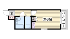 JR「姫路駅」徒歩5分♪ 安心のオートロックで女性も安心☆ 室内洗濯機置場 207の間取