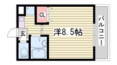 冷蔵庫・照明器具付き オートロック 1Cの間取