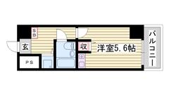 JR「姫路駅」徒歩5分♪ 安心のオートロックで女性も安心☆ 室内洗濯機置場 402の間取