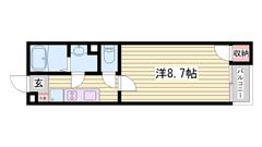 播磨高岡駅徒歩圏内です♪ホームセキュリティ付き!家具・家電付きです☆ 101の間取