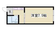 敷金・礼金0円物件 冷蔵庫付き ベッド付きです 102の間取