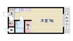 収納多めのワンルーム 一人暮らしにおすすめ もちろんエアコン完備 204の間取