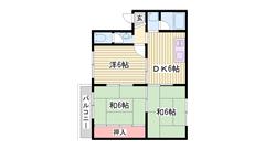 3DKでこのお家賃は要チェックです♪ファミリーさんにオススメです(^O^) 301の間取