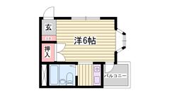 ペット相談可 都市ガス 姫路駅徒歩圏内です 南向きバルコニー 203の間取