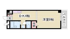 姫路駅へ徒歩圏内 バス・トイレ別 照明器具付きです  205の間取