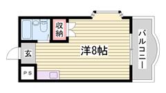 キッチン・トイレ・バス入れ替え☆ 単身者向けマンション!! 最上階角部屋です♪ 404の間取