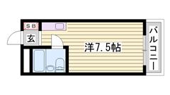 敷金・礼金0円 オートロック・ミニ冷蔵庫付き 単身・学生さんにオススメです☆ 110の間取