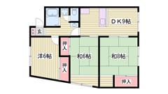 姫路駅徒歩圏内☆エアコン1台付き♪ 401の間取