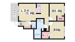 人気のシャーメゾン!駐車場1台込み☆都市ガス仕様で経済的♪エアコン完備☆ 106の間取