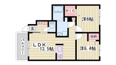 人気のシャーメゾン!駐車場1台込み☆都市ガス仕様で経済的♪エアコン完備☆ 107の間取