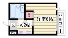 テレビ、ミニ冷蔵庫 ベッド 机付き 一人暮らしにおすすめ物件 都市ガスです 2-Cの間取