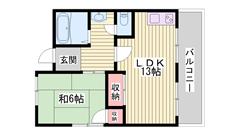 飾磨駅まで徒歩6分☆トイレ、洗面台新品!!リノベーションしました! 303の間取