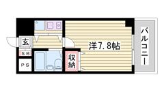 飾磨駅まで徒歩1分 コンビニ・スーパーも徒歩4分以内 オートロック付きマンション 504の間取