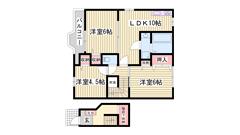 敷金・礼金0円物件 近隣にスーパーが有ります 和室→洋室に改装しました☆ 203の間取