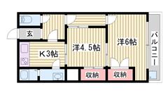 エアコン完備!! 山電網干駅まで4分!! 収納多数で便利!! 203の間取