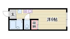 ペットOK物件☆ 駅まで徒歩圏内!! 単身者におすすめですよ(^O^)/ 205の間取