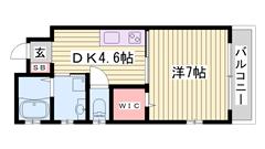 加古川駅徒歩圏内♪ ホテルライク仕様☆☆ ネット無料にオートロック付き! 101の間取