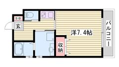 加古川駅徒歩圏内♪ ホテルライク仕様☆☆ ネット無料にオートロック付き! 103の間取