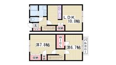 駐車場1台込みです☆ エアコン1基付き!!人気のメゾネットタイプ(^O^)/ 103の間取