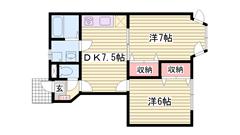 敷金0円物件 エアコン付き 専用庭 角部屋です  102の間取