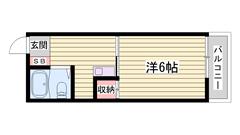 嬉しいエアコン付き♪冷蔵庫、照明器具付いてます☆ 203の間取