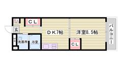 姫路駅徒歩圏内 収納スペース多数 洗面所独立 401の間取